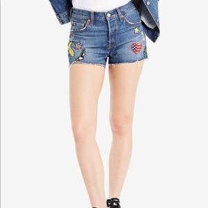 Levi's Patchwork Frayed Festival denim Jean Shorts